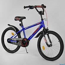 """Велосипед 20"""" дюймов 2-х колёсный """"CORSO"""" EX-20 N 2755 (1) СИНИЙ, ручной тормоз, звоночек, СОБРАННЫЙ НА 75%"""