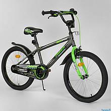 """Велосипед 20"""" дюймов 2-х колёсный """"CORSO"""" EX-20 N 2955 (1) СЕРЫЙ, ручной тормоз, звоночек, СОБРАННЫЙ НА 75%"""