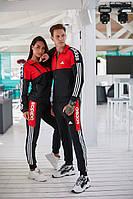 Мужской спортивный парный костюм двойка, красный без капюшона (реплика) двойка на змейке для бега