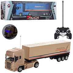 Машинка трейлер грузовик контейнеровоз фура на пульте радио управлении золотистый