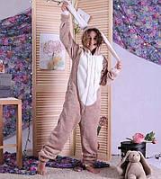 Комбінезон дитячий піжама махровий дитячий з вушками сірий теплий кигуруми р. 34-40
