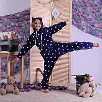 Комбінезон піжама махровий дитячий з вушками синій теплий кигуруми р. 34-40