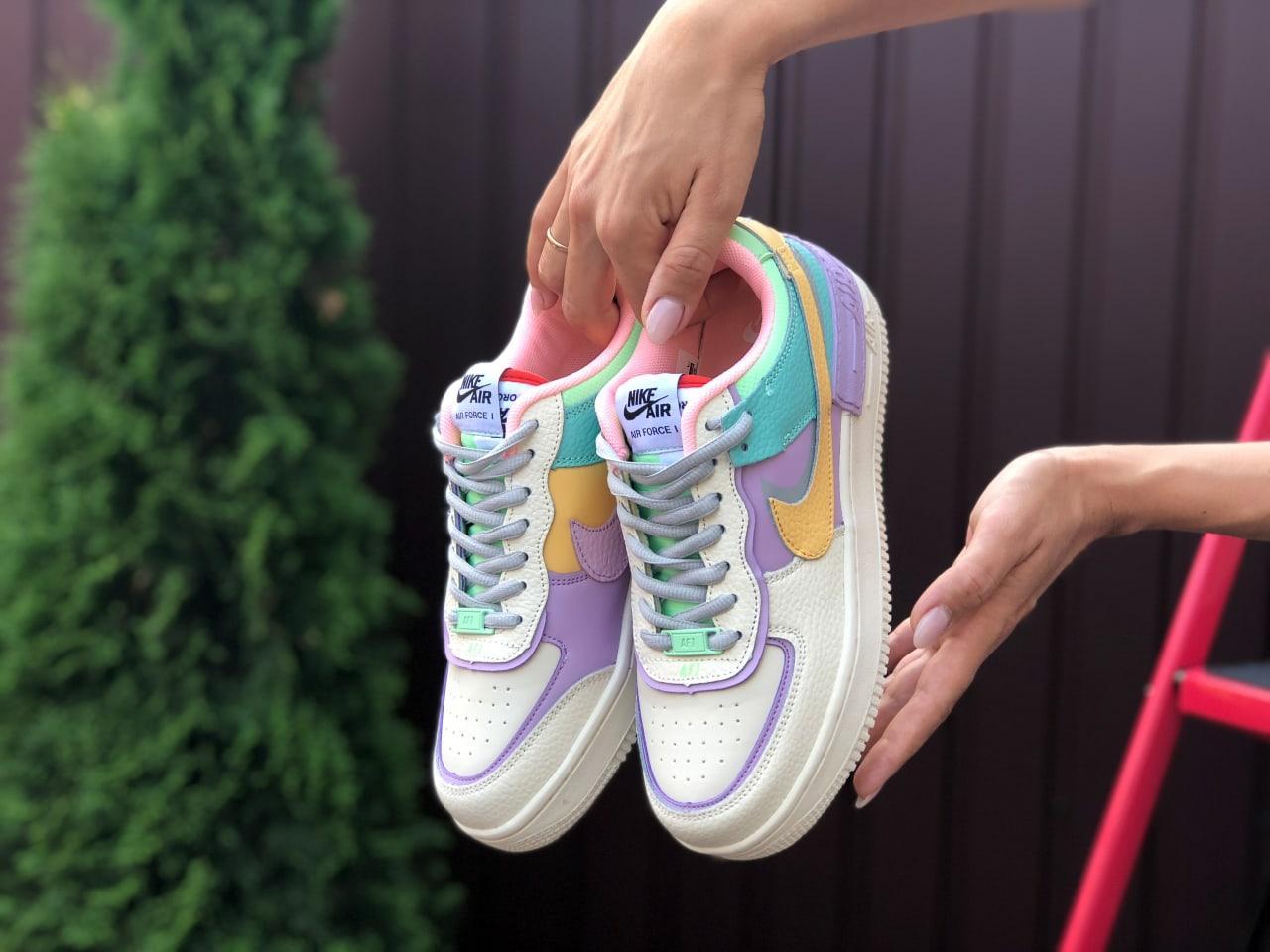 Модные женские кроссовки бежевые с фиолетовым с 36 по 41 размер