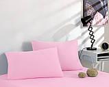 Простынь трикотажная на резинке спальное место  160 x 200 см с 2 наволочками 50*70 см Цвет Розовый, фото 2