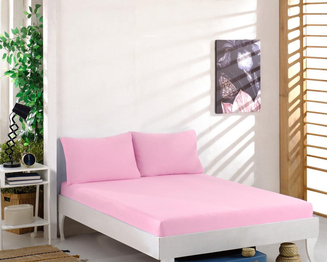 Простынь трикотажная на резинке спальное место  160 x 200 см с 2 наволочками 50*70 см Цвет Розовый