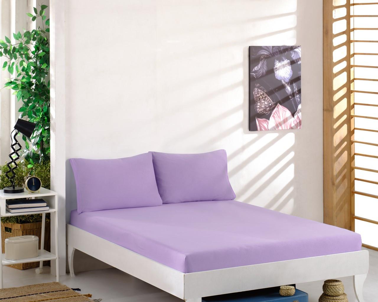 Простирадло трикотажна на резинці спальне місце 180 x 200 см, 2 наволочки 50*70 см Колір Бузковий