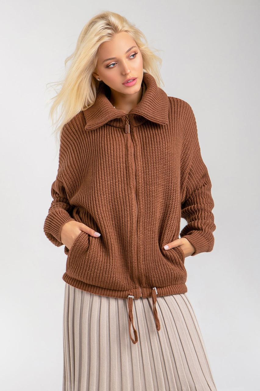 Теплый модный короткий вязаный кардиган-куртка на молнии с карманами 42-46, 48-52 размер