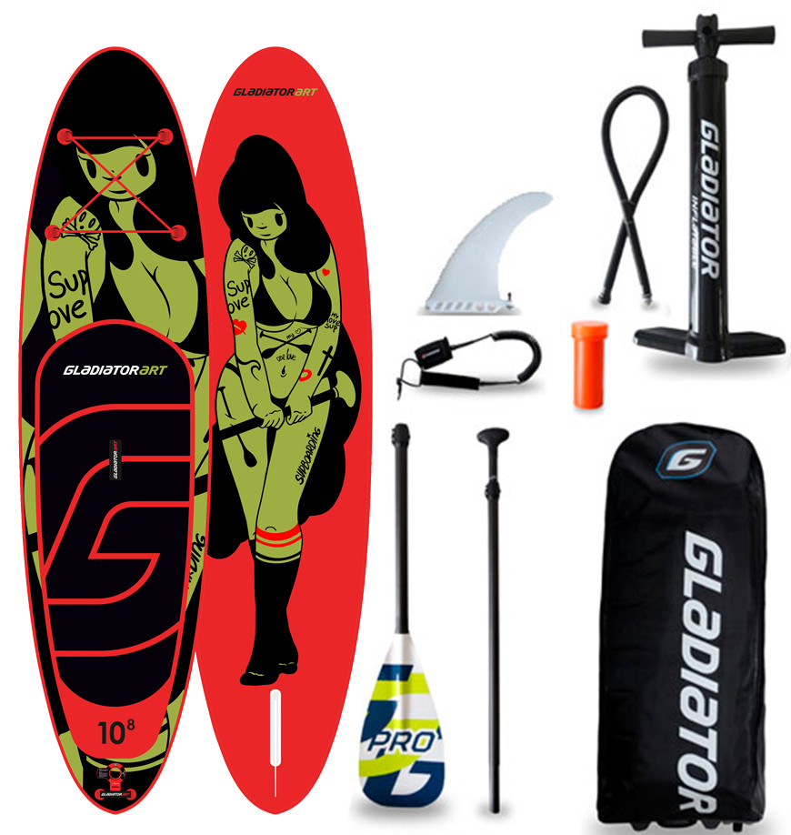 "Сапборд Gladiator ART 10'8"" x 34"" TATTOO - надувна дошка для САП серфінгу, sup board"