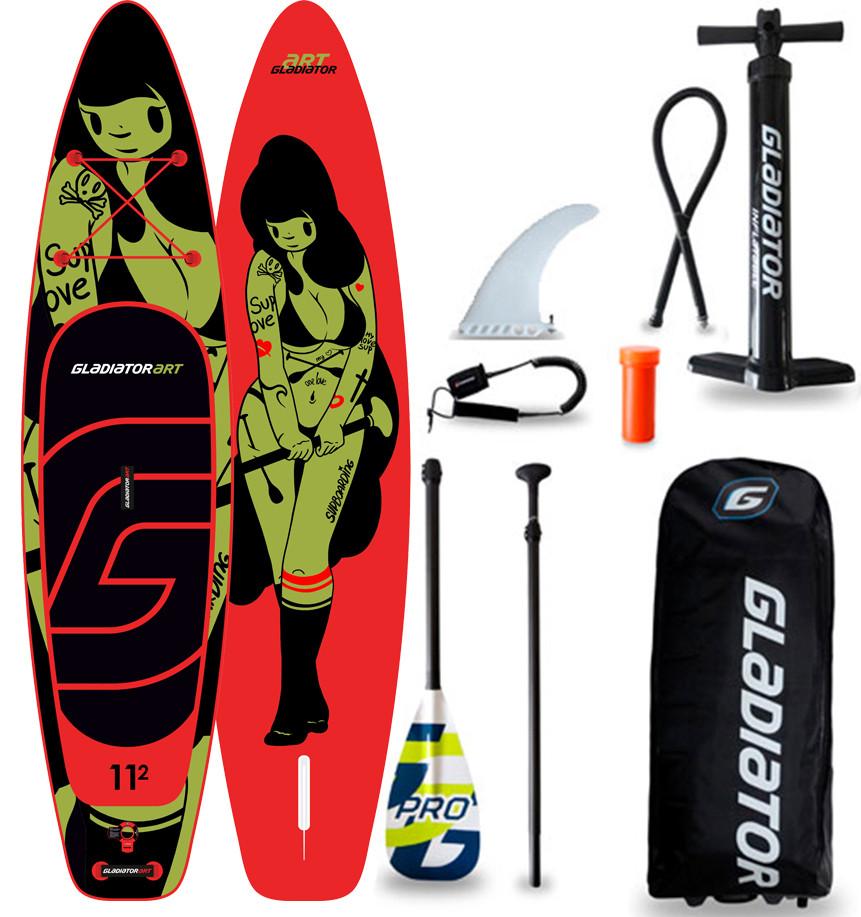 "Сапборд Gladiator ART 11'2"" x 30"" TATTOO - надувная доска для САП серфинга, sup board"