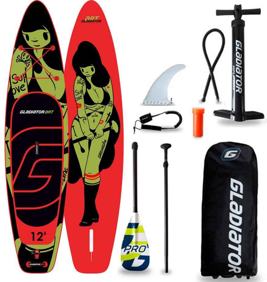 "Сапборд Gladiator ART 12'6"" x 32"" TATTOO - надувная доска для САП серфинга, sup board"