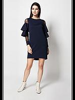 Модное темно-синие платье с рюшами и вставками из сеточки