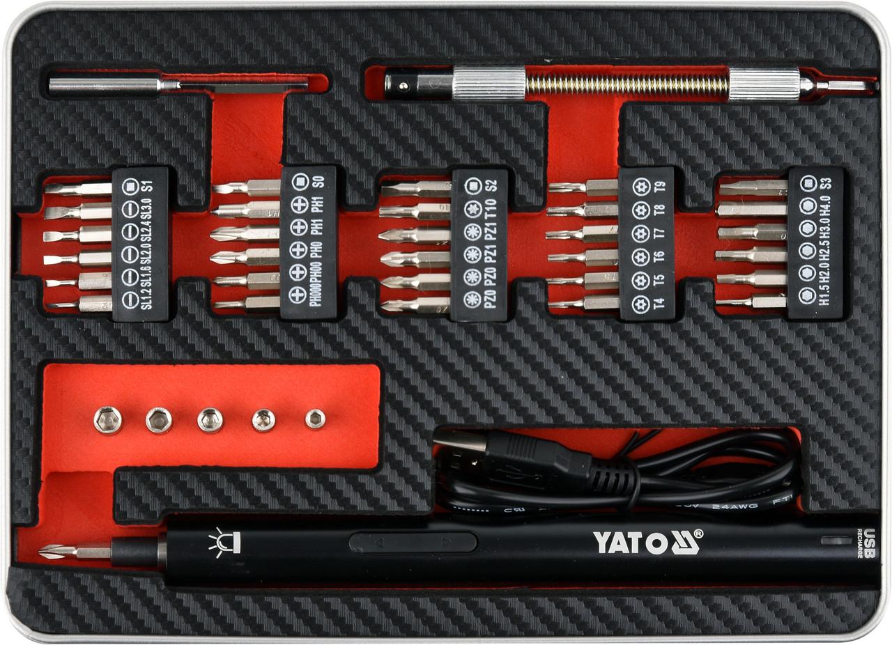 Аккумуляторная отвертка 3,6 В с битами 39 шт. YATO YT-27930