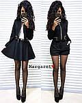 Женский костюм - тройка, замш, р-р 42-44; 44-46 (чёрный), фото 2