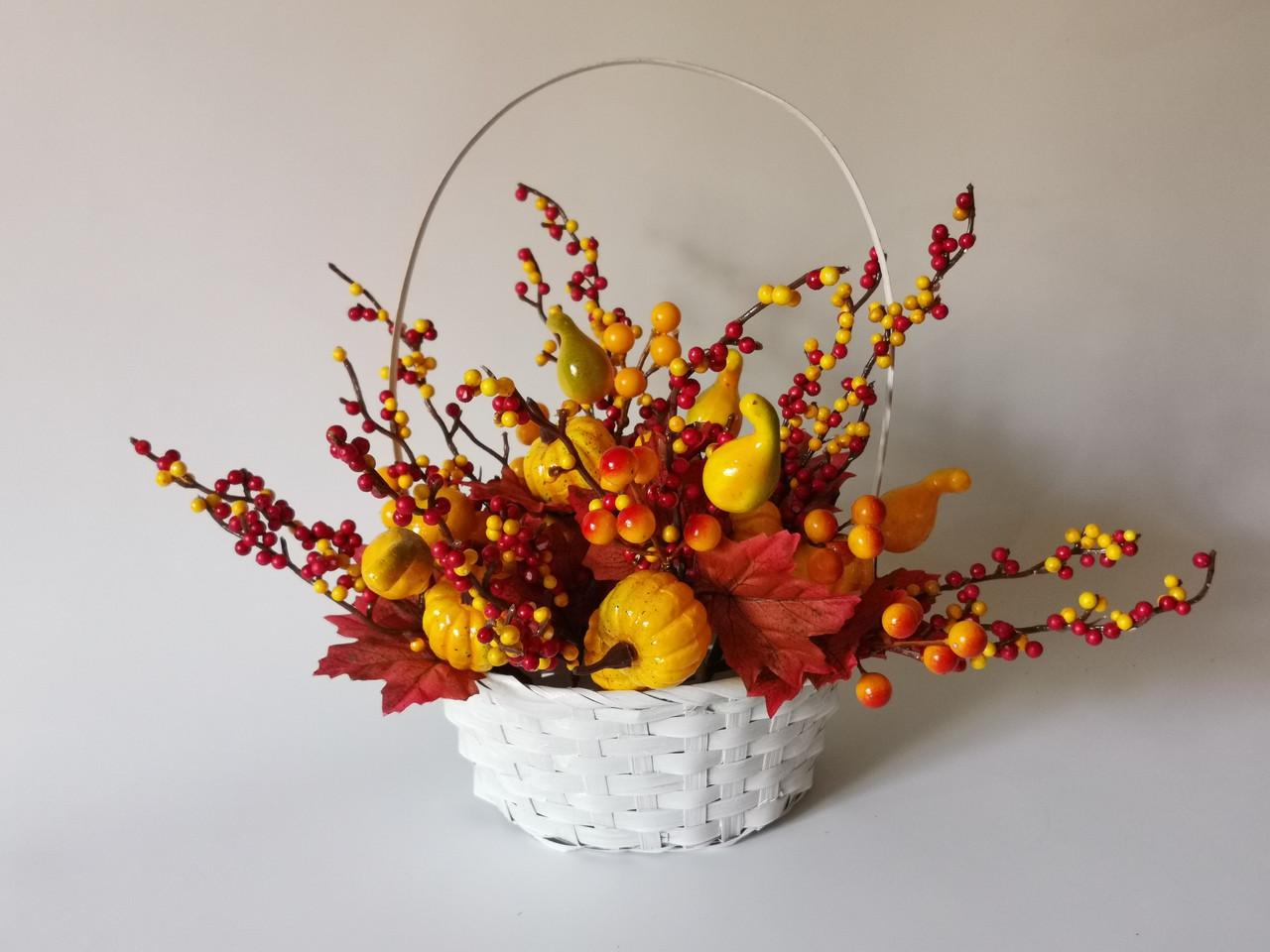 Искусственные цветы. Веточка с осенним декором, тыквой жёлтой.