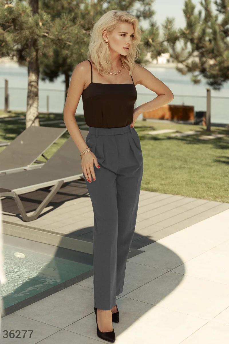 Серые брюки с трендовыми защипами XS,S,M,L