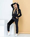 Женский спортивный костюм, велюр, р-р 42; 44; 46; 48 (чёрный), фото 3