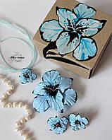 """Оригинальный подарок девушке. Украшения ручной работы """"Голубые гладиолусы""""(серьги+кулон+заколка), фото 1"""