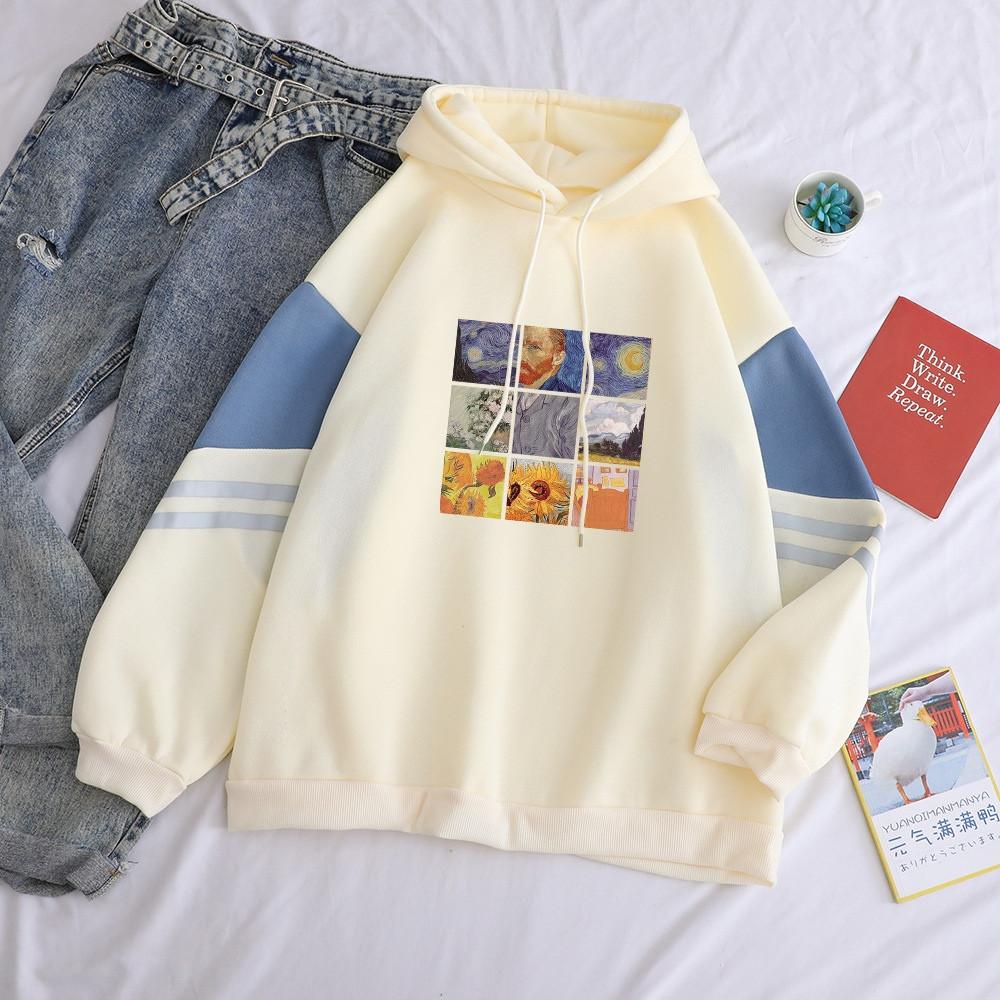 Женское свободное худи оверсайз с рисунком и капюшоном, размер универсальный 7804867