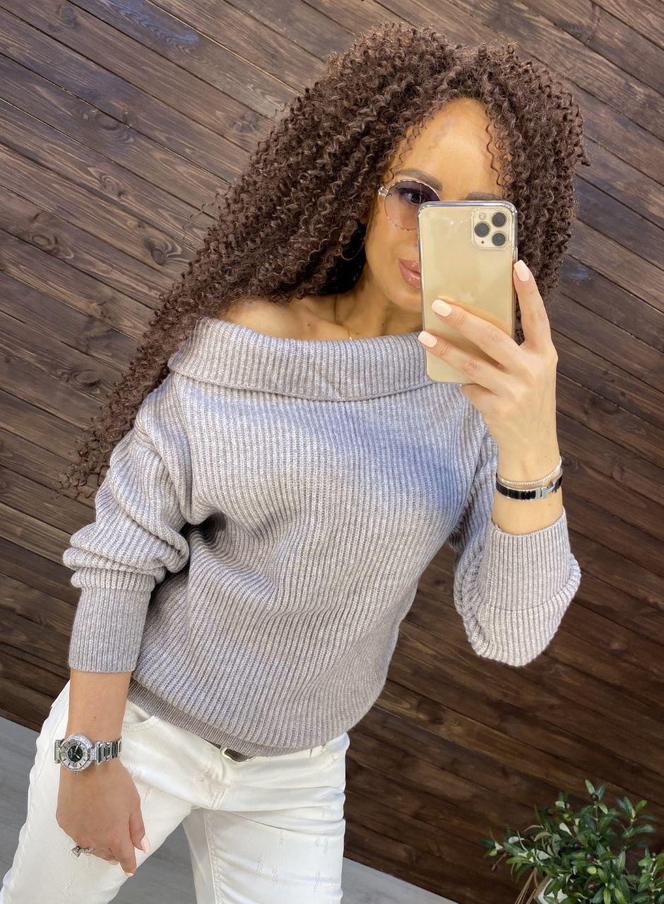Женский кашемировый свитер с открытыми плечами в размере оверсайз 7604875