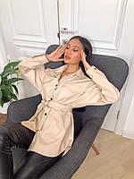 Кожаная удлиненная женская рубашка с поясом 2213398, фото 1