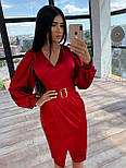 Шелковое платье миди с имитацией запаха и рукавами фонариками, р. 42 и 44 66031569Е, фото 3