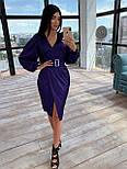 Шелковое платье миди с имитацией запаха и рукавами фонариками, р. 42 и 44 66031569Е, фото 6