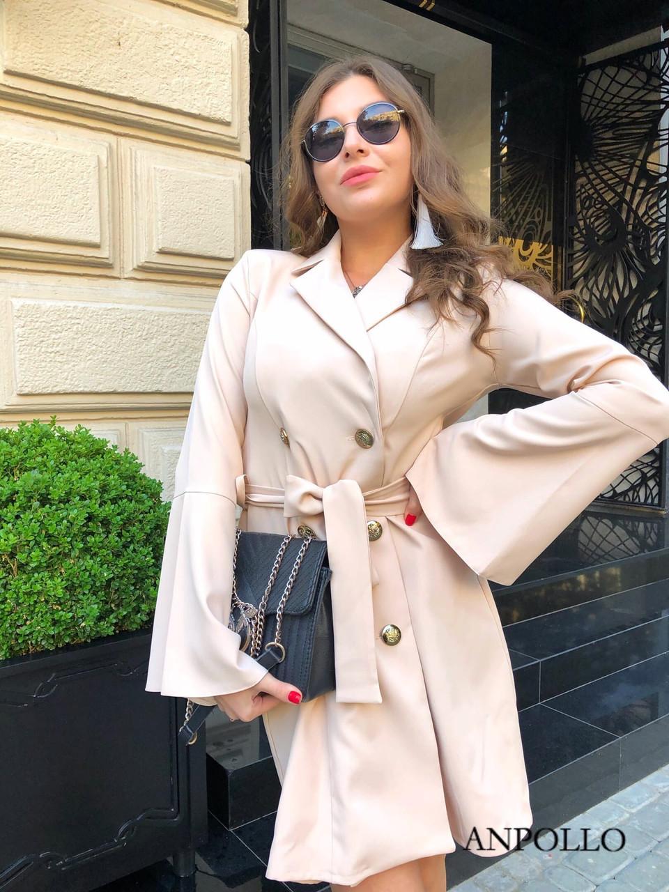 Двубортное платье пиджак с расклешенной юбкой и рукавами в едином размере 42-44 17031571