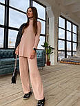 Вязаный женский костюм с брюками клеш и удлиненной кофтой с воротником 83101103, фото 3