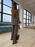 Вязаный женский костюм с брюками клеш и удлиненной кофтой с воротником 83101103, фото 5