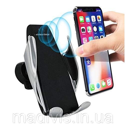 Универсальный автомобильный сенсорный держатель для телефона с беспроводной зарядкой Smart Sensor S5 СЕРЕБРО