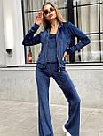 Женский плюшевый костюм тройка с брюками клеш, майкой и мастеркой на молнии, р. S и М 22101113, фото 5