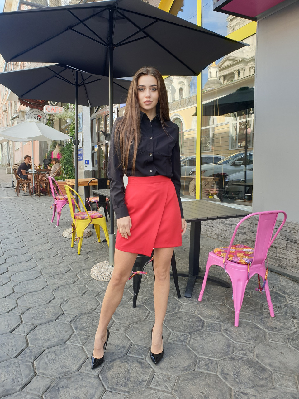Женская асимметричная юбка выше колена с имитацией запаха, р. 42, 44, 46 4511425