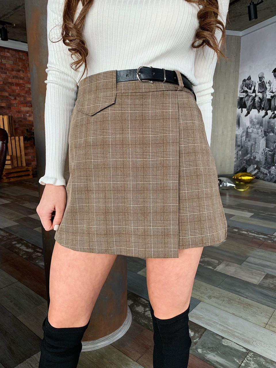 Женская юбка - шорты в клетку из костюмной ткани, р. 42 и 44 6811426