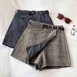 Женская юбка - шорты в клетку из костюмной ткани, р. 42 и 44 6811426, фото 2