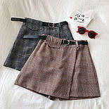 Женская юбка - шорты в клетку из костюмной ткани, р. 42 и 44 6811426, фото 3