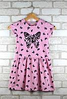 Платье для девочки Бабочка розовое возраст 3-4 года 98/104 см