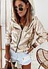 Женская мастерка из зеркальной плащевки на молнии и с капюшоном, до 52 р 73KF864