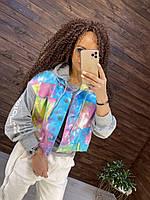 Женская джинсовая куртка с трикотажными рукавами 76KU331, фото 1