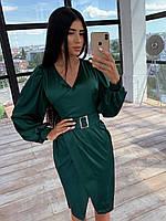 Шелковое платье миди с имитацией запаха и рукавами фонариками, р. 42 и 44 66PL1569Е, фото 1