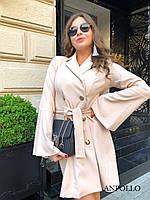 Двубортное платье пиджак с расклешенной юбкой и рукавами в едином размере 42-44 17PL1571, фото 1