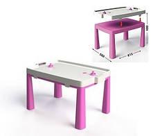 Стіл дитячий 2в1 з грою Хокей рожевий, Стол детский Долони DOLONI