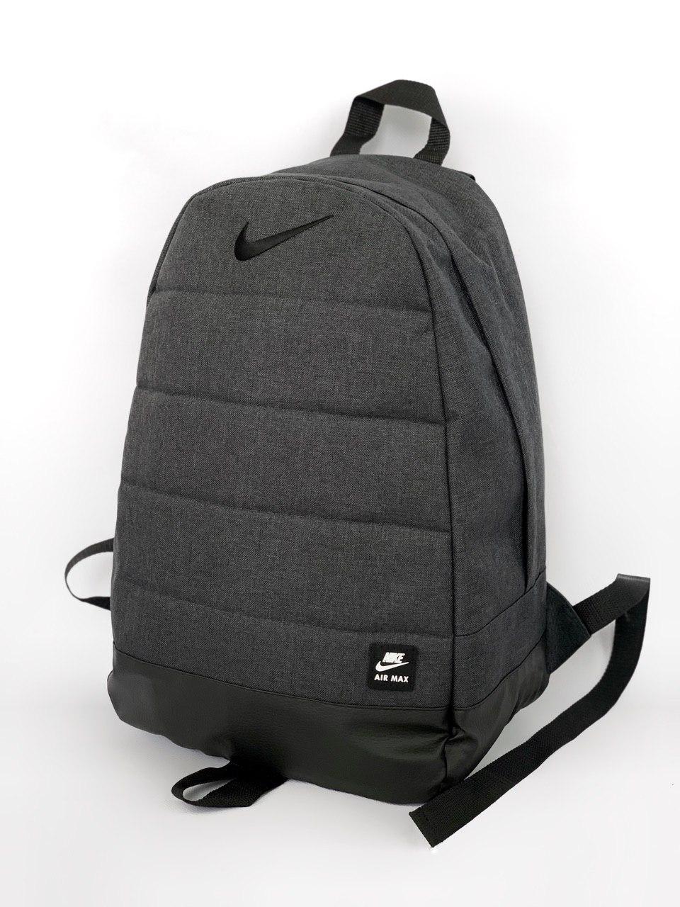 Рюкзак Найк / Nike / AIR мужской   женский темно - серый спортивный черное лого