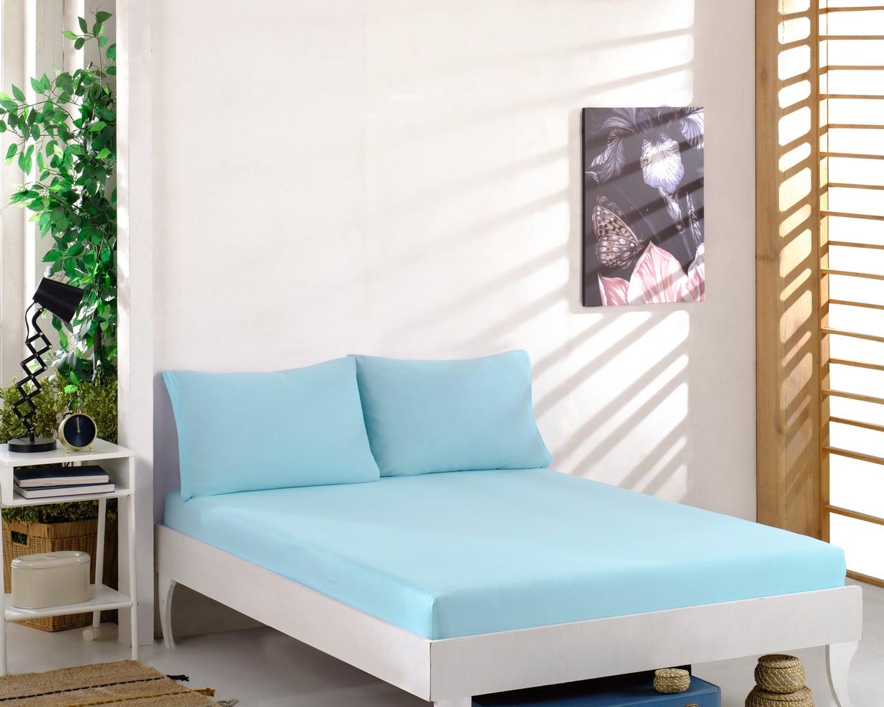Простирадло трикотажна на резинці спальне місце 200 x 220 см, 2 наволочки 50*70 см Колір Бірюзовий