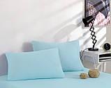 Простирадло трикотажна на резинці спальне місце 200 x 220 см, 2 наволочки 50*70 см Колір Бірюзовий, фото 3