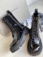 Кожаные ботинки BALENCIAGA глянцевая кожа (реплика)
