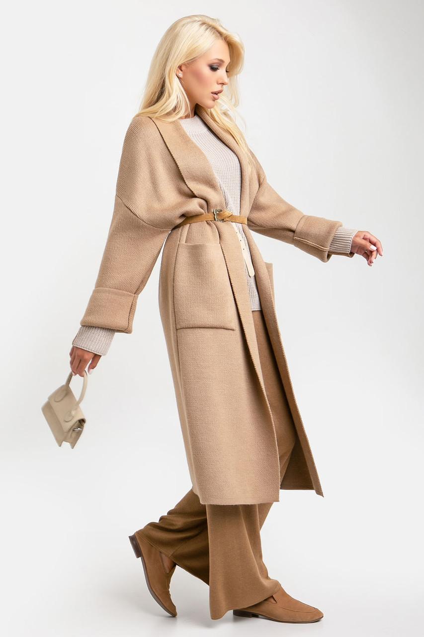 Теплий в'язаний щільний пальто-кардиган з накладними кишенями 42-46, розмір 48-52