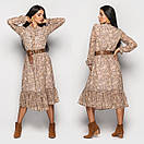 Шифоновое платье в цветочный принт с расклешенной юбкой миди и оборкой, р. 42, 44, 46 4py1560, фото 3