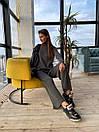 Вязаный женский костюм с брюками клеш и удлиненной кофтой с воротником 83ks1103, фото 2