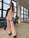 Вязаный женский костюм с брюками клеш и удлиненной кофтой с воротником 83ks1103, фото 3