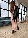 Вязаный женский костюм с брюками клеш и удлиненной кофтой с воротником 83ks1103, фото 4